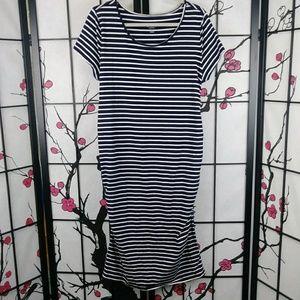🌼 Isabel Maternity Striped Midi Dress Scoop Neck